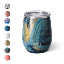 Swig Life 14oz Triple Insulated Stainless Steel Stemless Wine Tumbler with Slider Lid, Dishwasher Safe, Vacuum Insulated Travel Wine Glass in Starry Night Print (Multiple Patterns Available)