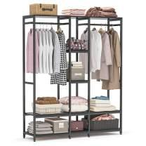 Tribesigns Double Rod Free standing Closet Organizer, Heavy Duty Clothe Closet Storage with Shelves, Extra Large Wardrobe Clothes Garment Rack, Shelving Unit Capacity 300 lb, Black
