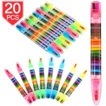 PROLOSO 20 In 1 stackable Crayons for Kids Glitter Pens Coloring Crayons Kids Painting Party Favors 20 Pcs