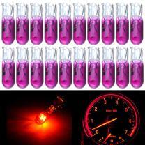 cciyu 20 Pack T5 17 86 206 Halogen Light Bulb Instrument Cluster Gauge Dash Lamp 12V (purple)
