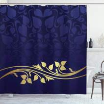 """Ambesonne Floral Shower Curtain, Romantic Royal Leaf Pattern with Yellow Colored Floral Branch with Leaves, Cloth Fabric Bathroom Decor Set with Hooks, 70"""" Long, Indigo Purple"""