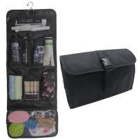 Hanging Toiletry Bag Travel Kit for Men and Women Waterproof Wash Bag Compact Makeup Organizer Bag Shaving Kit for Bathroom, Travel Accessories, Cosmetics, Shampoo, Body Wash Black