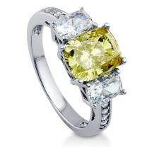 BERRICLE Rhodium Plated Sterling Silver Canary Yellow Cushion Cut Cubic Zirconia CZ 3-Stone Anniversary Engagement Ring 4 CTW