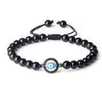 COAI Evil Eye Charm Black Obsidian Stone Beaded Bracelet