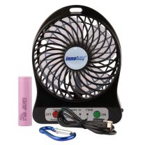 innobay Personal Fan USB/Rechargeable Battery Operated with LED Light, Quiet (4-inch, Black)