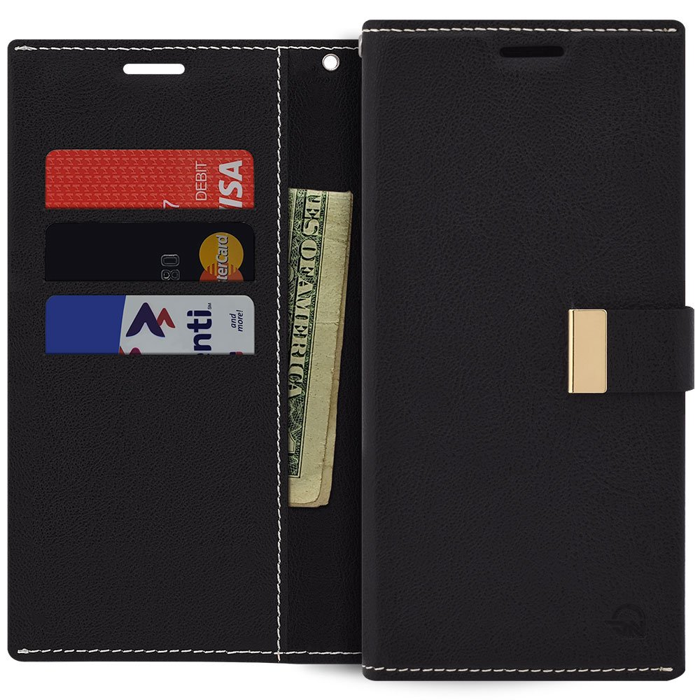 Qoosan iPhone 11 Wallet Case, Slim Leather Flip Cover with Card Holder, Black