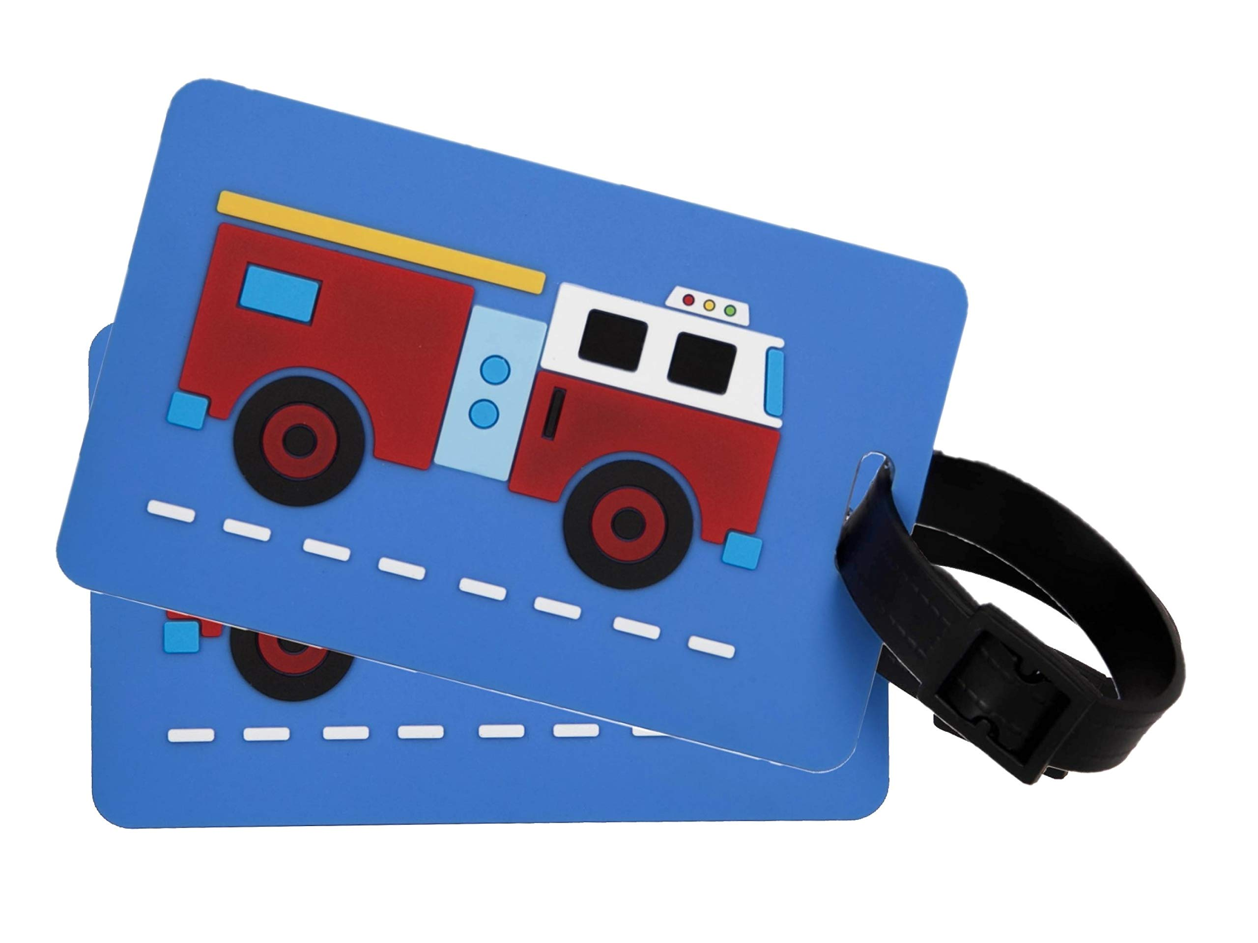 Wildkin Kids Luggage Tags for Boys and Girls, Includes 2 Matching Bag Tags and Removable Information Card, Perfect Size for Attaching to Suitcases, Backpacks and Duffle Bags, Olive Kids (Fire Truck)