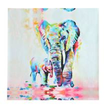 PATHONOR Healthy Elephant Oil Painting Canvas Wall Abstract Art for Home Office Decor/Children Room 50x50cm