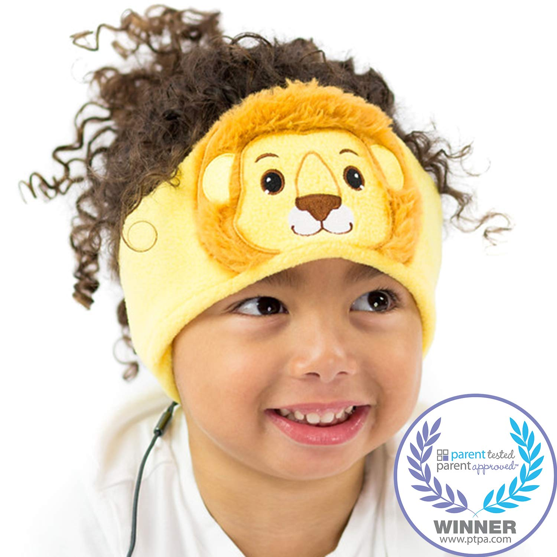 CozyPhones Kids Headphones Volume Limited with Ultra-Thin Speakers & Super Soft Fleece Headband - Perfect Toddlers & Children's Earphones for Home, School & Travel - Lion