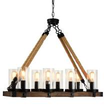 8-Light Farmhouse Linear Chandelier, Large Black Wood & Iron Rustic Pendant Light Fixture, Industrial Hanging Light with seeded Glass Shade, Hanging Ceiling Lamp for Dining & Living Room, Kitchen