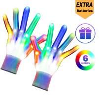 Huishang Flashing LED Finger Light Gloves Child Size for Boys Girls Ages 7 8 9 10 11 12(1Pair,WG)