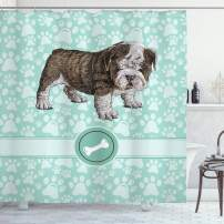 """Ambesonne Dog Lover Shower Curtain, Hand Drawn Detailed Pet Animal with Paw Prints Background and Bone, Cloth Fabric Bathroom Decor Set with Hooks, 70"""" Long, Blue Brown"""