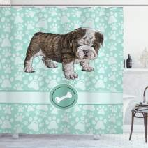 "Ambesonne Dog Lover Shower Curtain, Hand Drawn Detailed Pet Animal with Paw Prints Background and Bone, Cloth Fabric Bathroom Decor Set with Hooks, 70"" Long, Blue Brown"