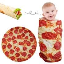 Lhedon Baby Pizza Blanket 36 Inch,Tortilla Warp Blanket for Newbron Girls Boys,Round Throw Blanket Plush for Pets Dog Cat,Realistic Fleece Warm Soft Taco Blanket.Baby Shower Gift