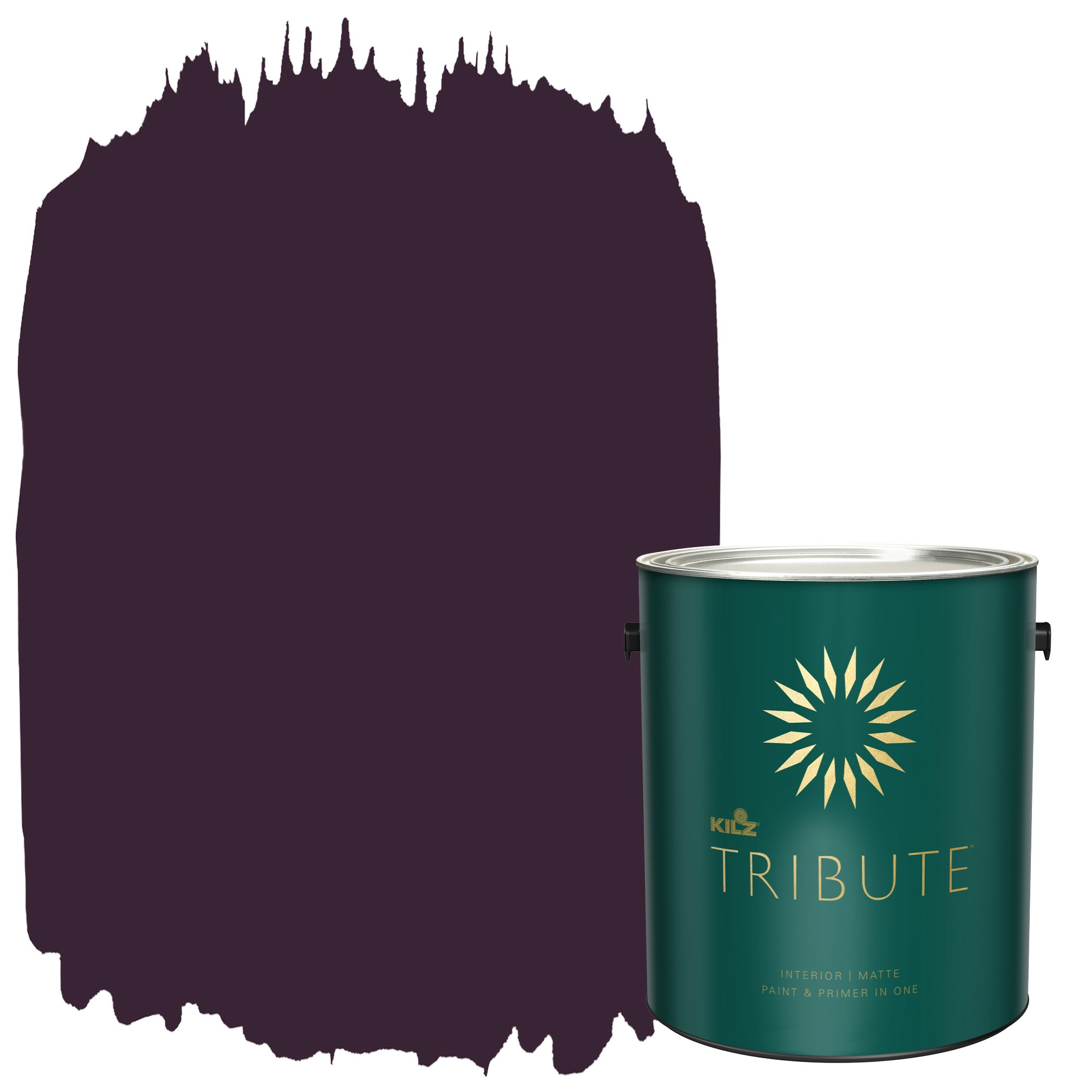 KILZ TRIBUTE Interior Matte Paint and Primer in One, 1 Gallon, Beetroot Purple (TB-100)