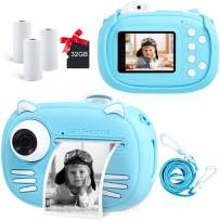 """Instant Camera for Kids Camera for Boys 40MP Digital Camera for Kids Selfie Video Camera with Print Paper, 2.4"""" Screen Toddler Camera Children Toy Camera for Kids 3 4 5 6 7 8-10 12, 32G TF Card, Blue"""