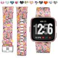 Maledan Compatible with Fitbit Versa 2/Versa Lite SE/Versa Bands for Women Men, Fadeless Pattern Band Printed Floral Strap Replacement for Fitbit Versa Smart Watch Family