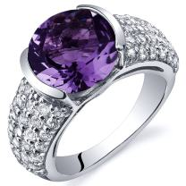 Bezel Set Large 3.25 Carats Amethyst Ring in Sterling Silver Rhodium Nickel Finish Sizes 5 to 9