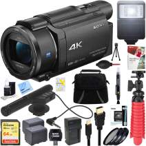 Sony FDR-AX53/B 4K Handycam Camcorder w/Mini Zoom Microphone + 64GB SDXC Memory Card + Deluxe Gadget Bag + Corel Paint Shop Pro X9 + Microfiber Cloth + Memory Card Wallet + Card Reader + Tripod+More