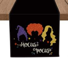 Artoid Mode Hocus Pocus Black Table Runner, Seasonal Halloween Holiday Kitchen Dining Table Runners for Indoor Outdoor Home Party Decor 13 x 108 Inch