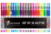 Glitter Gel Pens by Color Technik, Set of 30 Glitter Pens, Best Assorted Colors, Now with More Ink. Large Glitter Set on Amazon, Enhance Your Adult Coloring Book Experience Now! Perfect Gift Idea!