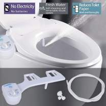 Bidet Toilet Seat Attachment, Non-Electric Bidet Fresh Water Sprayer with Adjustable Angle and Self Cleaning Nozzle (1387-white)