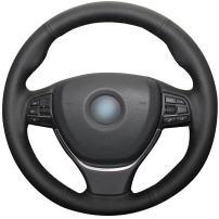 MEWANT Black Genuine Leather Steering Wheel Covers Wrap for BMW 5 Series F07 F10 F11 F18 2011-2016/6 Series F06 F12 F13 2012-2018/7 Series F01 F02 F03 F04 2012-2015 / M5 F10 2013