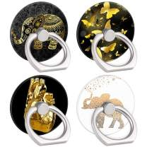 4-Pack Phone Ring Holder 360 Rotation Finger Stand Grip Kickstand for Smartphones and Tablets (Gold Elephant)