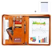 Leathario File Folder Padfolio Writing Pad Business Presentation Folder Portfolio (orange-2062)