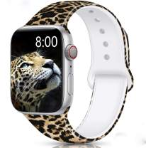 Merlion Compatible with Apple Watch Band 38mm 42mm 40mm 44mm for Women/Men,Silicone Fadeless Pattern Printed Replacement Floral Bands for iWatch Series 6/5/4/3/2/1 Leopard D