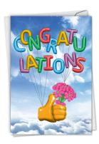 Thumbs-Up Balloons - Beautiful All Occasion Congratulations Card with Envelope (4.63 x 6.75 Inch) - Bright Blue Sky Appreciation Card for Kids, Adults - Fun Stationery Recognition Notecard C6341CGG