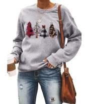 Barlver Womens Christmas Pullover Shirts Holiday Vacation Graphic Tees Tops