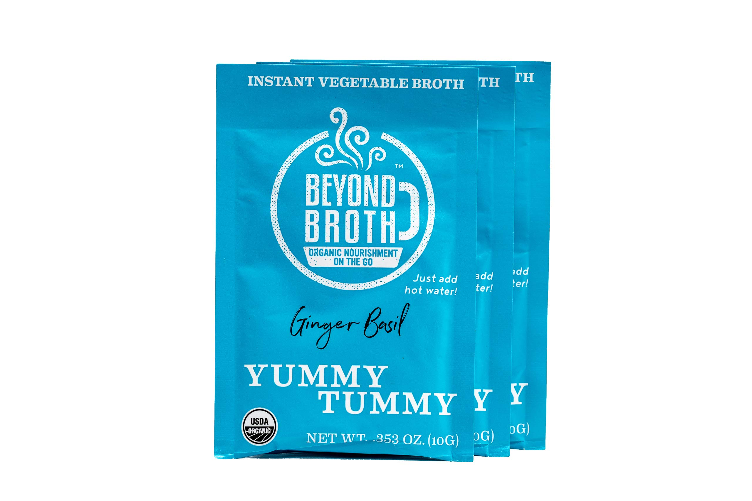 Beyond Broth Ginger Basil Yummy Tummy Organic Vegan Vegetable Instant Sipping Broth; For On The Go Or Cooking Keto, Paleo and Whole30 Friendly 3 single serve packets, Made in the USA