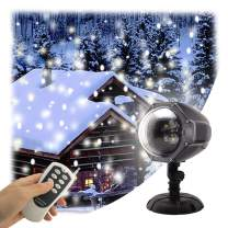 GAXmi LED Christmas Projector Lights Remote Snowfall Decorations Outdoor Indoor Xmas Decor White Snowflake Flurries Rotating Spotlight Landscape Decorative Lighting for Wedding Birthday New Year Stage