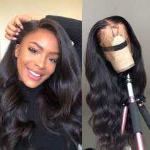Glueless Closure Wig With Baby Hair Lace Front 6x6 Body Wave Brazilian Human Hair Free Deep Part 130% Density Natural Look For Black Women Virgin Hair 18 inch