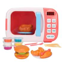 Christoy Microwave Kitchen Play Set with Light Sound for Kids with Pretend Fake Food and 6 Color DIY Play-Dough Clay Great for Toddlers 3 and Older Grils and Boys (Pink)
