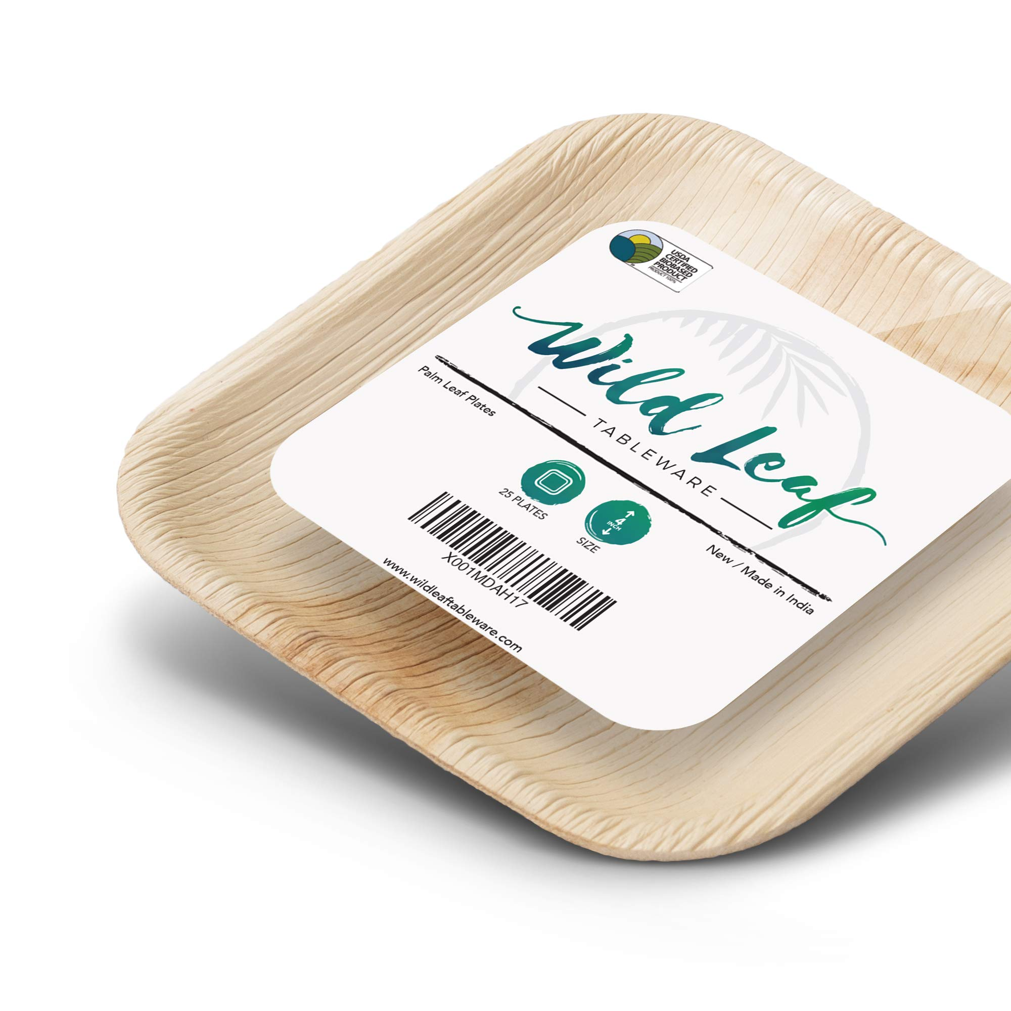 Disposable MINI Canape Plates, 4 Inch, 25 Pack. Tiny, Bite-Size Tasting Plates, Perfect for Cocktail Parties and Catering Events. Eco Friendly Palm Leaf Plates by Wild Leaf Tableware