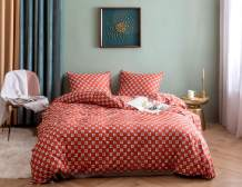 Opcloud Flower Red Duvet Cover Set Queen 100% Natural Cotton Sateen 3Pieces Comforter Cover with Shams