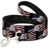 "Buckle-Down Pet Leash - American Eagle Flags - 4 Feet Long - 1.5"" Wide"
