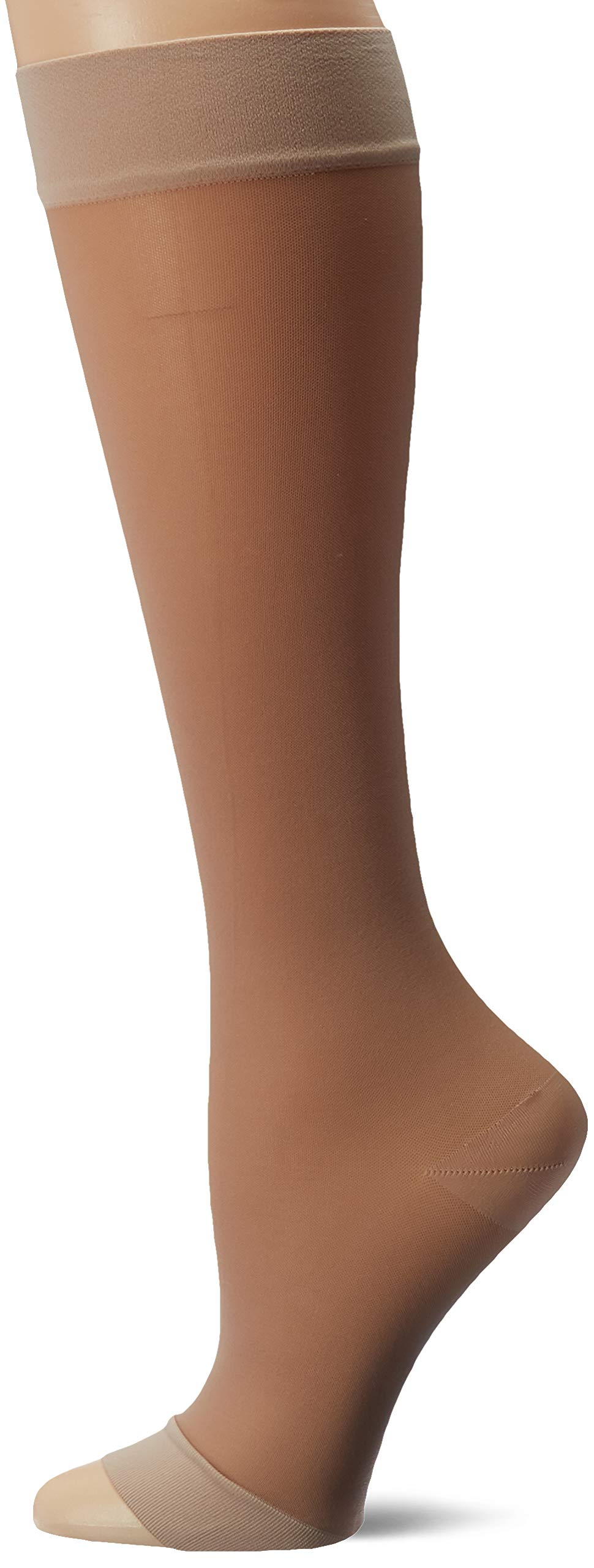 Truform Compression 15-20 mmHg Sheer Knee High Open Toe Stockings Nude, Large, 2 Count