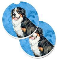 Caroline's Treasures LH9379BUCARC Blue Bernese Mountain Dog Set of 2 Cup Holder Car Coasters, Large, multicolor