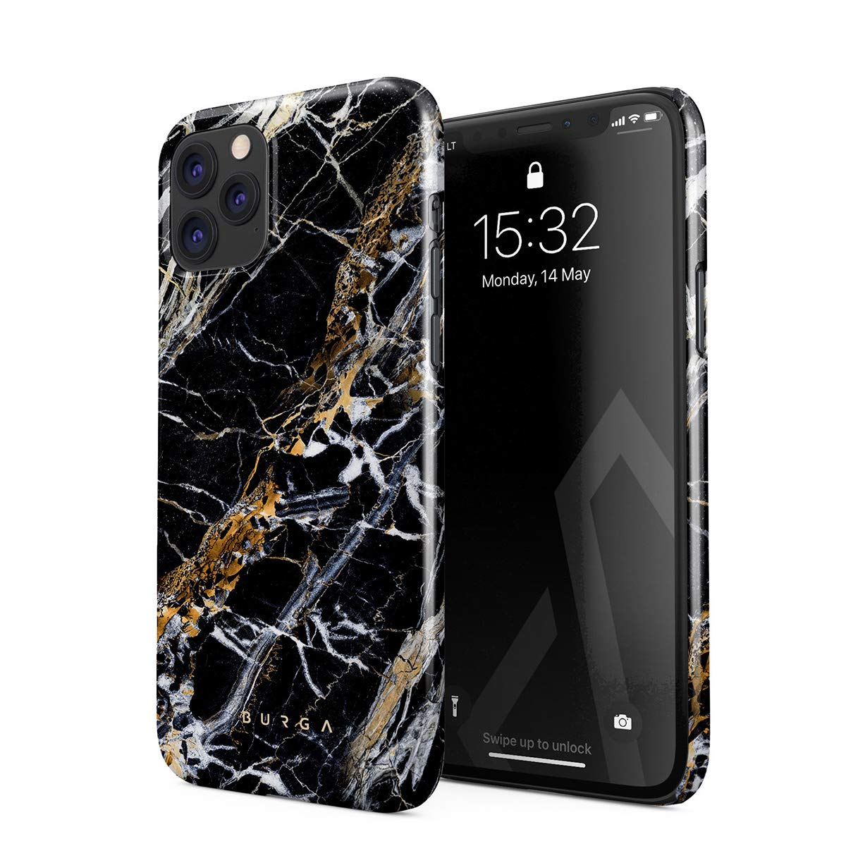 BURGA Phone Case Compatible with iPhone 11 PRO MAX - Black and Gold Onyx Marble Golden Stone Cute Case for Women Thin Design Durable Hard Plastic Protective Case