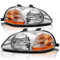 AUTOSAVER88 Headlight Assembly Compatible with 1996 1997 1998 Honda Civic 33151-S01-305 33101-S01-305