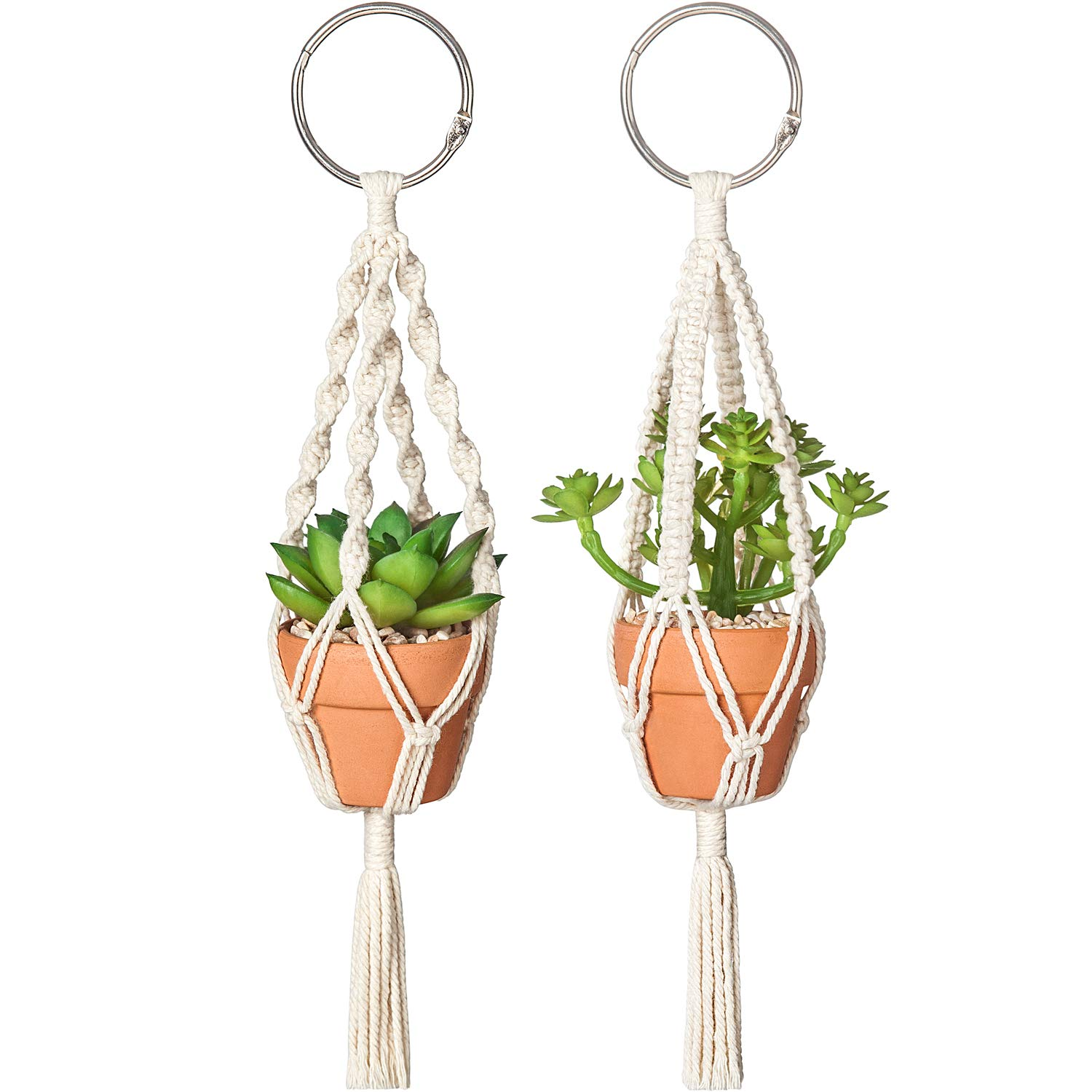 Dahey Mini Macrame Plant Car Hanging 2 Pcs Hanging Succulent For Car Decorations Handmade Rear View Mirrior Charm Boho Planter With Ceramic Pot And Plant For Car Home Decor 10 5 Inch Red
