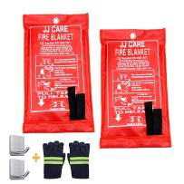 """JJ CARE [Pack of 2 Fire Blanket Fire Suppression Blanket with Fire Protective Gloves -Suitable for Camping, Grilling, Kitchen Safety, Car and Fireplace Fire Retardant Blanket for Emergency 40""""x40"""""""
