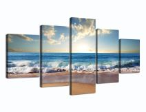 Yatsen Bridge Modern Landscape Painting on Canvas 5 Piece, Beach Ocean Pictures Wall Art for Living Room Home Decor Wooden Framed Stretched Ready to Hang (60''W x 32''H)