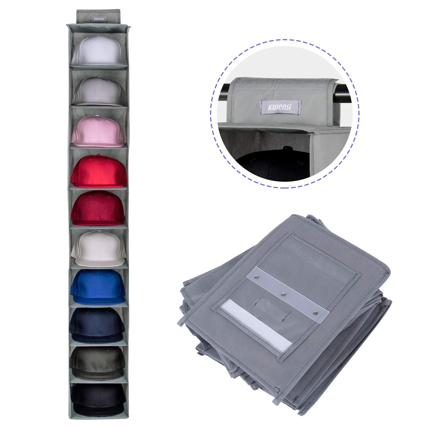 KUIENSI Hat Storage Racks Organizer, 10 Shelf Hanging Closet Holder for Baseball Caps, Using a Monolithic PP Plate Sheet and Fit Protect Your Hats and Keep its Shape