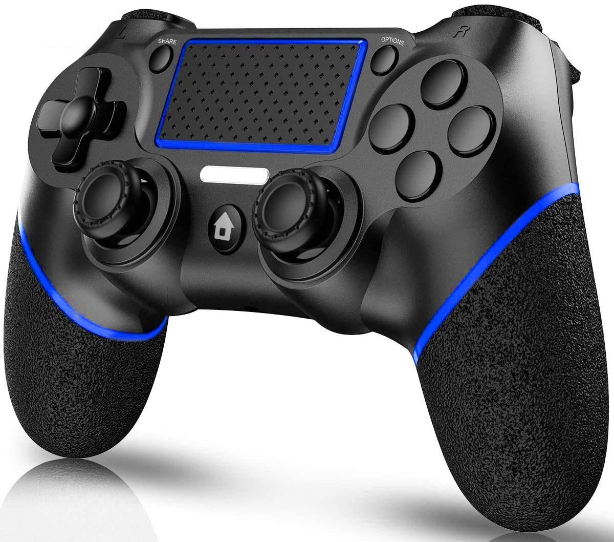 TUTUO Wireless Game Controller Compatible with PS4/Slim/Pro/DualShock 4, Gamepad Remote Joystick with Gyro/HD Dual Vibration/Touch Panel/LED Indicator/USB Cable(Blue)