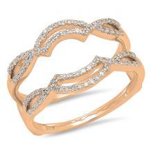 0.35 Carat (ctw) 10K Gold Round Diamond Ladies Wedding Band Enhancer Guard Double Ring 1/3 CT