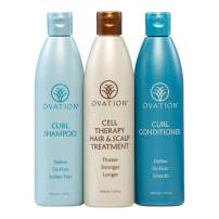 Ovation Curl Cell Therapy System - Get Stronger, Fuller & Healthier Looking Hair with Natural Ingredients. Includes Curl Therapy Treatment Shampoo and Curl Conditioner (12 oz.) Made in the USA.